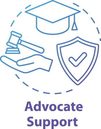 Advocate support concept icon. Legal assistance for students. Education contract. Legislation idea thin line illustration. Vector isolated outline RGB color drawing. Editable stroke