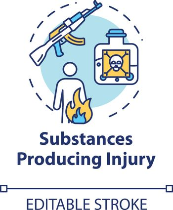 Substances producing injury, trauma causes concept icon. Gun and poison effect, fire result, gunshot wound and burn thin line illustration. Vector isolated outline RGB color drawing. Editable stroke