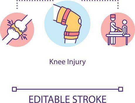 Knee injury, traumatism concept icon. Orthopedics, kneecap fracrure, meniscus removal, tendon sprain idea thin line illustration. Vector isolated outline RGB color drawing. Editable stroke