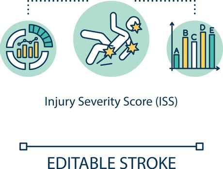 Injury severity score, polytrauma concept icon. Mortality, morbidity and hospitalization time indicators idea thin line illustration. Vector isolated outline RGB color drawing. Editable stroke