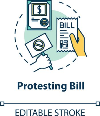 Protesting bill concept icon. Public law. Official legislation document. Social activist. Notary service idea thin line illustration. Vector isolated outline RGB color drawing. Editable stroke