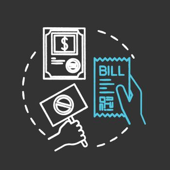 Protesting bill chalk RGB color concept icon. Public law. Official legislation document. Social activist. Notary service idea. Vector isolated chalkboard illustration on black background