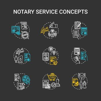 Notary services chalk RGB color concept icons set. Legislation and public regulation. Certificate, guarantee. Common law idea. Vector isolated chalkboard illustrations on black background