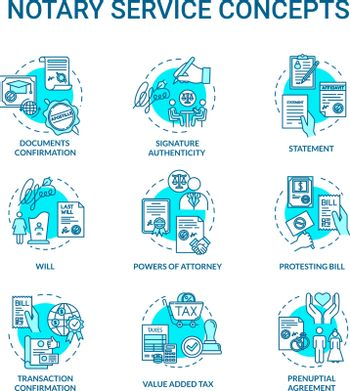 Notary services turquoise concept icons set. Legislation and public regulation. Warrant. Common law idea thin line RGB color illustrations. Vector isolated outline drawings. Editable stroke