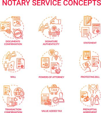 Notary services red concept icons set. Legal claim. Legislation and public regulation. Certificate, guarantee. Common law idea thin line RGB color illustrations. Vector isolated outline drawings