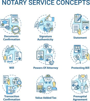 Notary services concept icons set. Legislation and public regulation. Certificate, guarantee. Common law idea thin line RGB color illustrations. Vector isolated outline drawings. Editable stroke