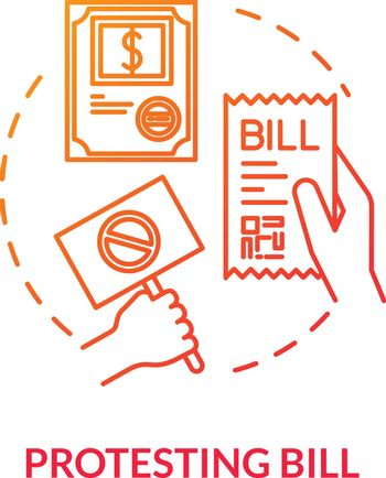 Protesting bill red concept icon. Political manifest. Public law. Official legislation document. Social activist. Notary service idea thin line illustration. Vector isolated outline RGB color drawing