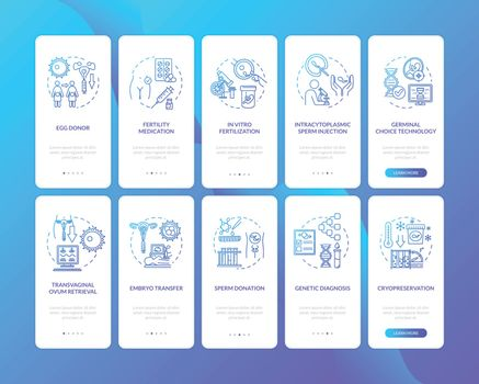 Alternative pregnancy onboarding mobile app page screen with concepts. Assisted childbirth walkthrough 5 steps graphic instructions. UI vector template with RGB color illustrations
