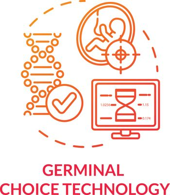 Germinal choice technology red concept icon. Fetus development. Chromosome spiral. Screening procedure. Reproductive tech idea thin line illustration. Vector isolated outline RGB color drawing