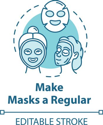 Make masks regular, beauty procedure concept icon. Face skin care, spa cosmetics, cosmetology idea thin line illustration. Vector isolated outline RGB color drawing. Editable stroke