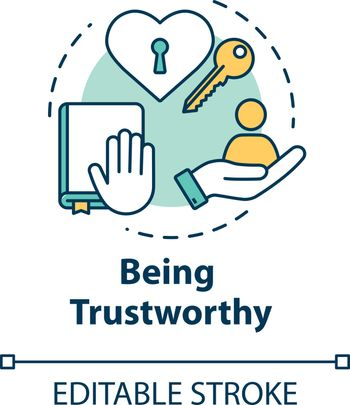 Being trustworthy concept icon. People secrets keeping. Being loyal, dependable and faithful friend idea thin line illustration. Vector isolated outline RGB color drawing. Editable stroke