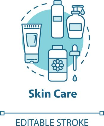 Skin care, face and body beauty concept icon. Cleansing or moisturizing cosmetic products, dermatology idea thin line illustration. Vector isolated outline RGB color drawing. Editable stroke