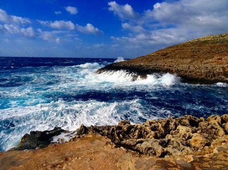 Barren shoreline and sea