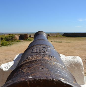 View of the horizon from the point of view of an old cannon