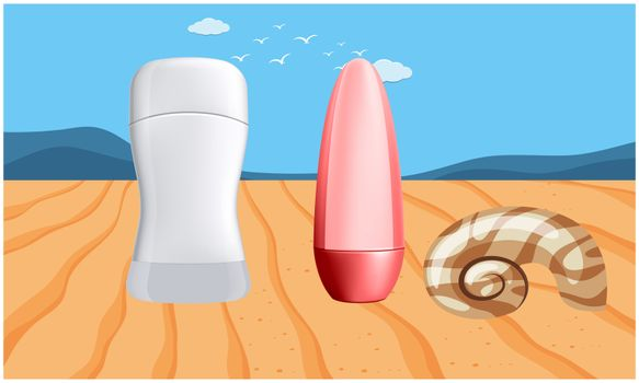 mock up illustration of couple beauty product on wooden table surface