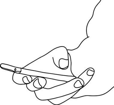 close-up right hand holding mobile phone vector illustration sketch doodle hand drawn with black lines isolated on white background