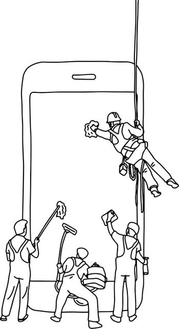 four male people cleaning big smartphone vector illustration sketch doodle hand drawn with black lines isolated on white background