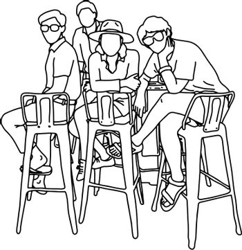 four people sitting on high chair together vector illustration sketch doodle hand drawn with black lines isolated on white background