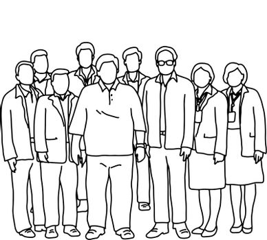 seven busunessmen and two businesswomen standing together vector illustration sketch doodle hand drawn with black lines isolated on white background. Teamwork concept.