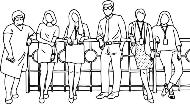 one businessman and five businesswomen standing together vector illustration sketch doodle hand drawn with black lines isolated on white background. Teamwork concept.