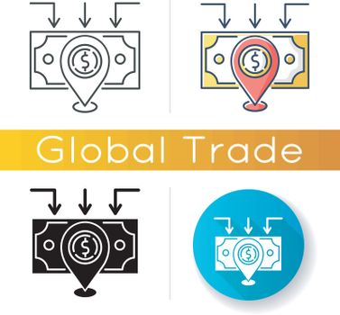 Domestic trade icon. Wholesale and retail trading. Domestic market, local goods producing and selling, national manufacture. Linear black and RGB color styles. Isolated vector illustrations