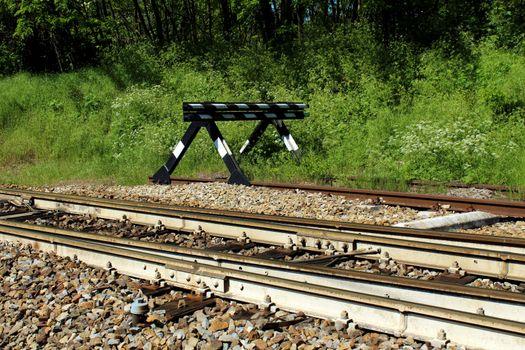 Bay platform and bumper on a railway line