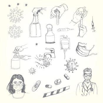 Vector hand drawing Illustration of coronavirus