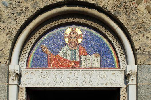 Mosaic on a romanesque church facade