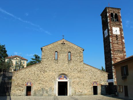 Romanesque italian church and belfry (basilica of Agliate)