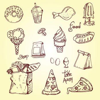 hand drawing Set fast food