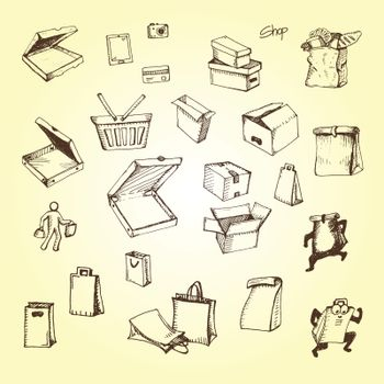 hand drawing of packaging for food or other