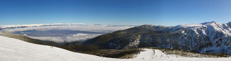 High mountain ski resort, panorama of mountain slopes