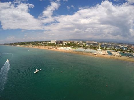 Aerial view of beach in a summer resort