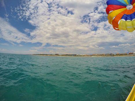 Parasailing boad at mediterranean sea in Antalya, Turkey