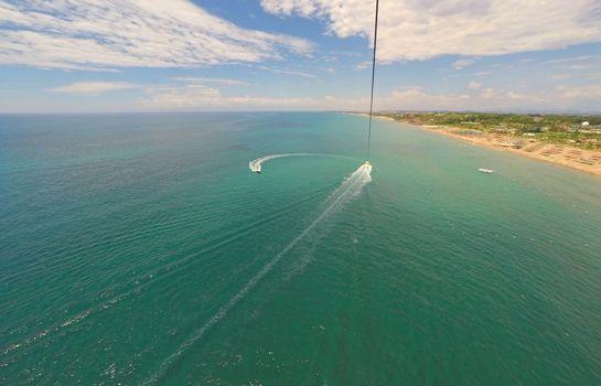 Parasailing aerial view of mediterranean beach in Antalya, Turkey