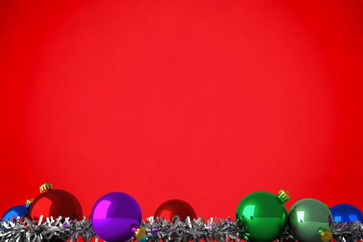 Composite image of christmas baubles and tinsel