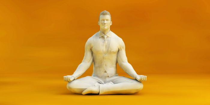 Business Man Zen Meditating and Keeping Calm or Stress Free
