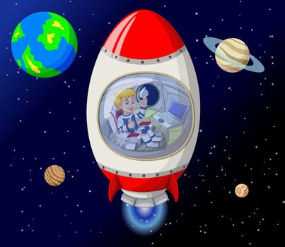 Rocket In Outer Space Cartoon