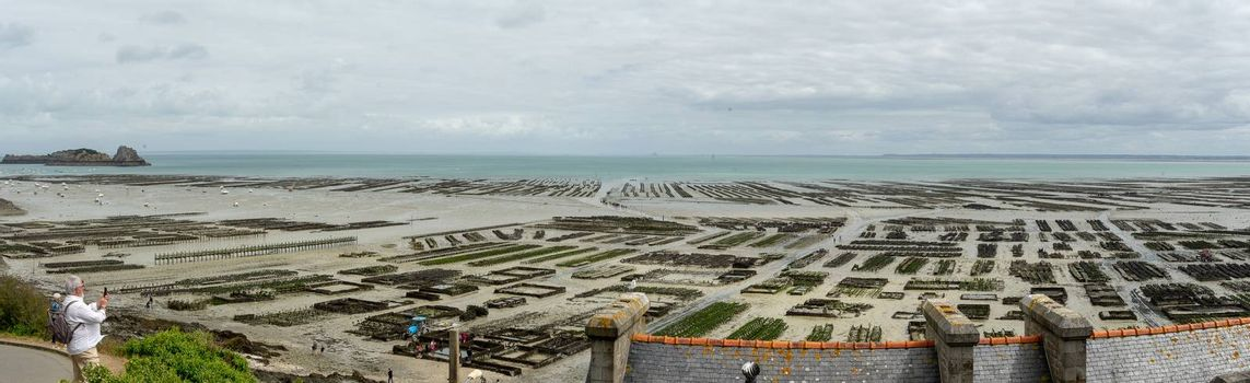 Travel for oysters in Cancale Britanny village on sea view tourism