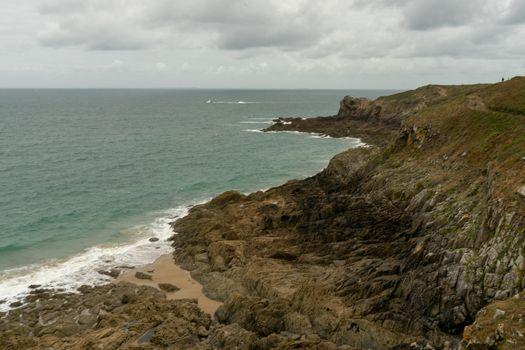 Bretagne of France sea coast hiking trail of tourism