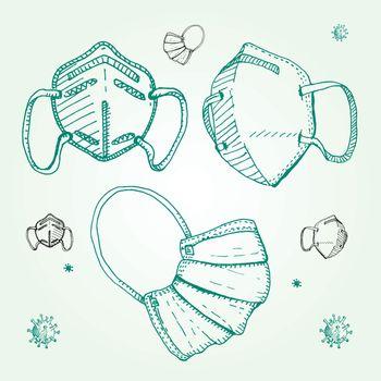 Hand drawing three medical face mask