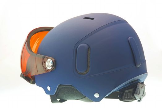 Isolated winter sports helmet with goggles included