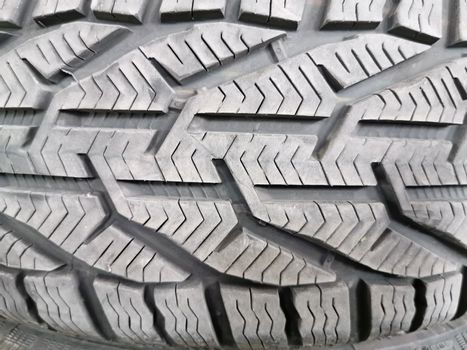 Close up image of winter tyre pattern