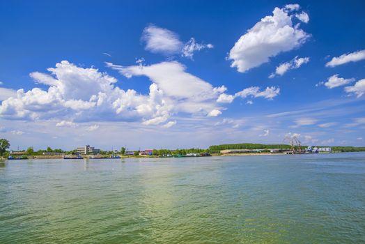 Docked ferry boat and Danube river near Braila in Romania
