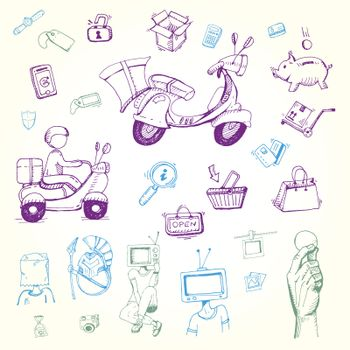 Hand drawing Doodle shopping and delivery icons set