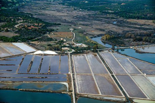 Salt producing evaporation ponds, Faro, Portugal