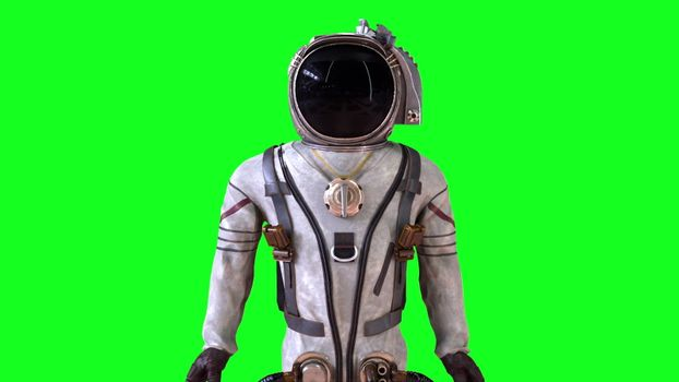 Astronaut in a metal protective spacesuit is destroyed into small particles. Computer generated space background, 3d rendering