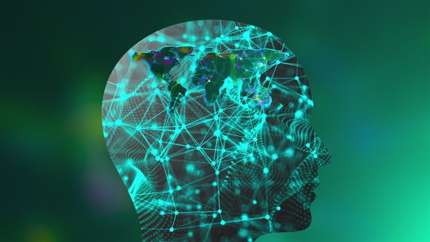 Grid of thin straight lines connected by dots inside the head profile and geographic map of the world, computer generated backdrop, 3d rendering