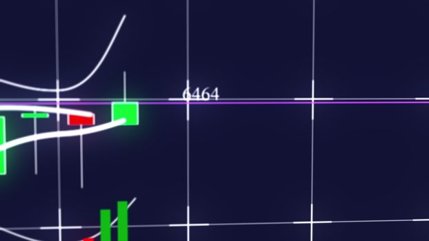 Growing candlestick chart of stock market investment trading. Computer generated business background, 3d rendering.