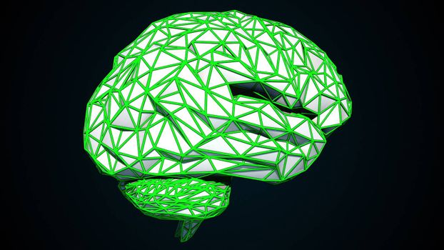 Human brain is formed by a combination of colored triangles, computer generated. 3d rendering of digital artificial intelligence of the brain from polygons.